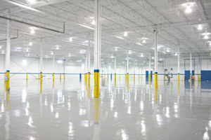 warehouse painting of ceilings and epoxy floor in Detroit