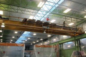 spray painting steel structures in a Gary, IN facility